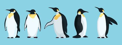 Ljusa pingvintecken i olikt poserar royaltyfri illustrationer