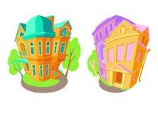 Ljusa plana vektorvolymsymboler av gamla hus i viktoriansk stil och barock Nästa träd för gataljus Hus stock illustrationer