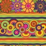 Ljusa psykedeliska blommor, cirklar & fodrar den sömlösa modellen Vektor Illustrationer