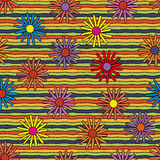 Ljusa psykedeliska blommor & linjer sömlös modell Vektor Illustrationer