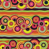 Ljusa psykedeliska cirklar & linjer sömlös modell Stock Illustrationer