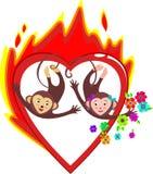 Ljusa röda brinnande hjärtaförälskelsevalentin dag Royaltyfri Foto