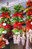 Ljusa röda och gröna Chili Pepper Ristra royaltyfri bild