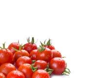 Ljusa röda tomater på en vit bakgrund körsbärsröd tomat Arkivbilder