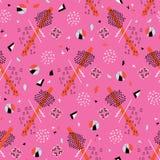 Ljusa rosa färger för Memphis Style Geometric Abstract Seamless vektormodell vektor illustrationer