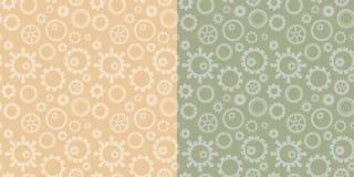 Ljusa sömlösa modeller för beige och grön vektor med samlingen av kugghjul - industriella bakgrunder royaltyfri illustrationer