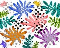 Ljusa sommarmodeller av blommor och sidor stock illustrationer