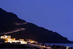 Ljusa spår för hastighet i Almeria Fotografering för Bildbyråer