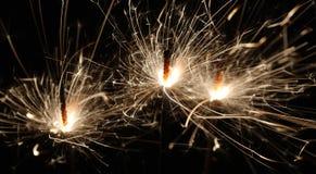 ljusa sparklers tre Arkivbilder