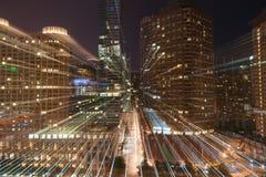 Ljusa strömarkitektur för zoom och cityscapes av Chicago, Illi Arkivbilder