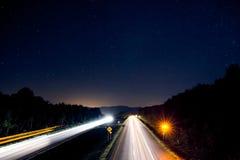 Ljusa strimmor på mellanstatliga 89 i Vermont Arkivfoton