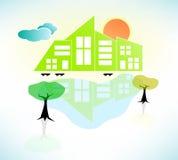 Ljusa Sunny House Scene. Vektorillustration Arkivbild