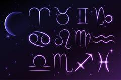 Ljusa symboler av zodiak- och horoskop-, astrologi- och mystikertecken, vektorillustration Royaltyfri Fotografi