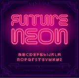 Ljusa symboler för neonalfabetbokstäver undertecknar in vektorn Nattshow Nattklubb stock illustrationer