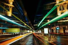 Ljusa vägar för spårvagn Arkivbilder