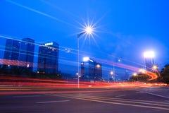 ljusa vägtrails Fotografering för Bildbyråer