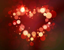 Ljusa valentin för skina hjärtabokeh dag Arkivfoto