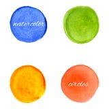 Ljusa vattenfärgcirklar, designbeståndsdelar Royaltyfria Foton