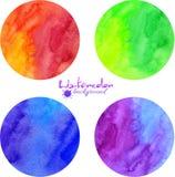 Ljusa vattenfärgvektorcirklar Fotografering för Bildbyråer