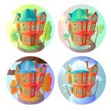 Ljusa vektorvolymsymboler av gamla hus i viktoriansk stil i tecknad filmbarn säsonger Sommar vår, vinter Arkivbilder