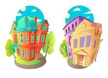 Ljusa vektorvolymsymboler av gamla hus i viktoriansk stil och barock Fotografering för Bildbyråer