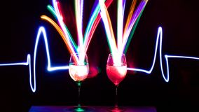 Ljusa vinexponeringsglas Royaltyfria Bilder