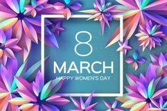 Ljusa Violet Holographic Flowers Lyckliga kvinnors dag International8 mars dagblomman ger mödrar mumsonen till Modernt papper kli stock illustrationer