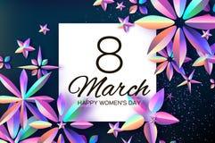 Ljusa Violet Holographic Flowers Lyckliga kvinnors dag International8 mars dagblomman ger mödrar mumsonen till Modernt papper kli royaltyfri illustrationer