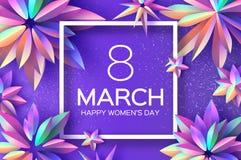 Ljusa Violet Holographic Flowers Lyckliga kvinnors dag International8 mars dagblomman ger mödrar mumsonen till Modernt papper kli vektor illustrationer