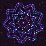 Ljusa Violet Shimmering Star av partiklarna Arkivfoto