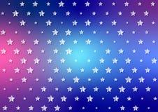 Ljusa vita stjärnor mönstrar i skinande blå och röd bakgrund royaltyfri illustrationer