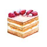 Ljusbrun kaka för del med jordgubbar bakgrund isolerad white Royaltyfri Foto