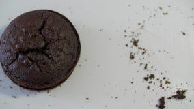 Ljusbrun kaka i ett snitt Ljusbrun kaka för choklad stock video