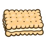 Ljusbrun symbol för fyrkantig smörgås, utdragen stil för hand vektor illustrationer