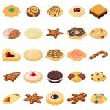 Ljusbrun symbolsuppsättning för kakor, isometrisk stil vektor illustrationer