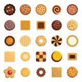 Ljusbrun symbolsuppsättning för kakor, lägenhetstil vektor illustrationer