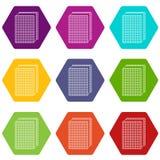 Ljusbrun vektor för glasssymbolsuppsättning 9 royaltyfri illustrationer