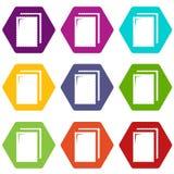 Ljusbrun vektor för glasssymbolsuppsättning 9 vektor illustrationer