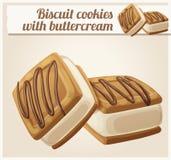Ljusbruna kakor med buttercreamillustrationen stock illustrationer