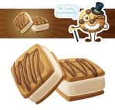Ljusbruna kakor med buttercreamillustrationen Tecknad filmvektorsymbol på vit bakgrund vektor illustrationer