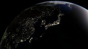 Ljusen av städer på jord, i mitten av Japan, tolkning 3D stock illustrationer