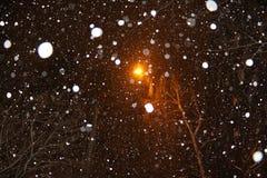 Ljuset av en lykta till och med den fallande snön Fotografering för Bildbyråer