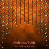 Ljusgardin för nytt år och jul Arkivfoto