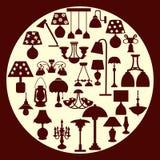 Ljuskrona- och lampkontur - illustration Arkivbilder