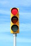ljusröd signaleringstrafik Arkivbild