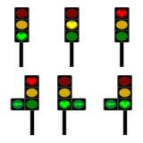 Ljusröda, gula och gröna lampor för förälskelse, för signal Fotografering för Bildbyråer