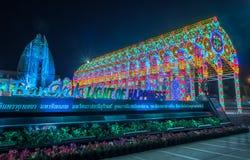 Ljusshow för nytt år på det Bangkok stadshuset Arkivfoton