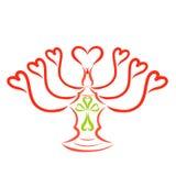 Ljusstake för sju hjärtor för sju stearinljus, kors royaltyfri illustrationer