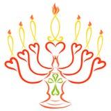 Ljusstake med sju stearinljus, fisk, hjärta och kors, kristen stock illustrationer