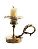 Ljusstake med stearinljuset som isoleras på vit fotografering för bildbyråer